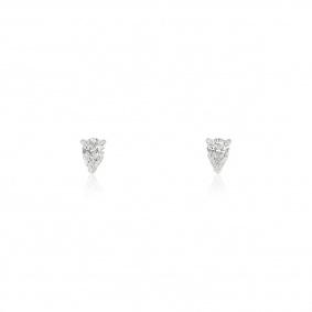 White Gold Pear Cut Diamond Earrings 0.80ct TDW